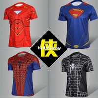 Wholesale Hot Sale Superman Running Sport T Shirt Spider Man Casual Short Jersey Size S XXXXL