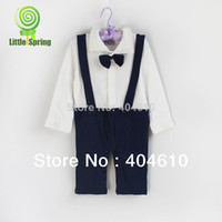 Unisex Summer Turn-down Collar Wholesale-Baby Romper ! Fashion ! Baby's like suspenders long sleeve Jumpsuits little bow ties Cotton bowtie in stock ELZ-L0070