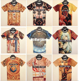 Wholesale-Free Shipping Fashion Animal Print 3D T shirt 3D Funny Pray For Paris Print T shirt Man