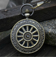 Wholesale Unique Antique Roman Wagon Wheel Bronze Copper Mechanical Skeleton Chain Watches Men Wedding Suit Pendant Luxury Wind Up Hunter Watch Fob