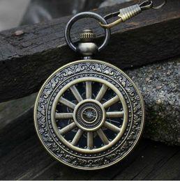 Wholesale Unique Antique Roman Wagon Wheel Bronze Copper Mechanical Skeleton Chain Watches Men Wedding Suit Pendant Luxury Wind Up Hunter Watch Fob