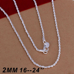Top Quality 925 sterling silver 2MM Twist ROPE CHAIN Necklace 16inch 18inch 20inch 22inch 24inch 50pcs Free Shipping