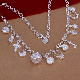 Top Quality 925 sterling silver Lovely 13 Charms Pendants Diamond Necklace Ladies Necklace 10pieces