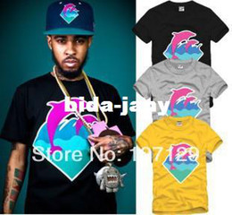 Wholesale-2014 new summer dolphin printed t shirt pink dolphin t shirt hip hop tee shirts 100% cotton short sleeve tees 6 color