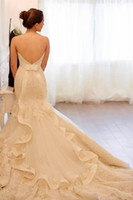 Wholesale Hot Sale Lace Wedding Dress Mermaid Wedding Dress Ivory Wedding Dress Open Back Designer Wedding Dress