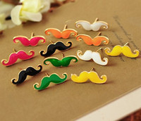 Wholesale Mixed vintage charm cute black efendi mustache enemal earring retro stud jewelry free shiipping