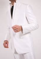 Wholesale Custom Made High Quality Ivory Suits Formal Groom Tuxedo for pieces Coat Pants Vest Tie Size S XL S14644