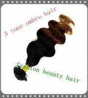 "Brazilian Hair Ombre Color Body Wave Hot Queen Fashion Hair 3 Tone Flat Tip Hair Extension Body Wave 100% Brazilian Human Remy Pre bonded Hair Extension Top Grade 18""-28"" 100g"