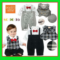 Boy Summer Rompers Wholesale-Bowtie romper 2 color choose girls set striped baby romper+cute toddler outfits bow tie and suspender set boy infant clothing