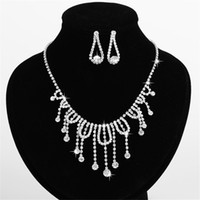 Wedding Jewelry Sets Celtic Gift Charm Czech Drop Tassel Necklace For Women Shining Rhinestone Prom Jewelry High Quality Bride Dress Accessories EMS Free