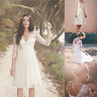 Wholesale 2014 Romantic Short Chiffon Bohemian Beach Wedding Dresses Sheer Long Sleeves Beads Lace Appliques Mini Backless Bridal Party Garden Gowns