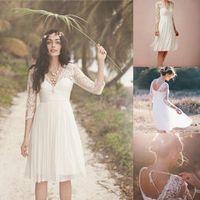 short wedding dresses - 2016 Romantic Short Chiffon Bohemian Beach Wedding Dresses Sheer Long Sleeves Beads Lace Appliques Mini Backless Bridal Party Garden Gowns
