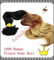 Cheap Beauty Queen Hair 3 Tone Ombre Color Flat Tip Body Wave Hair Extension 100% Brazilian Keratin Human Remy Pre bonded Hair 5A Grade 200g lot