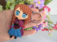 Wholesale Frozen Key Chains Soft Rubber Cartoon Anna Elsa Keychain pendant Car keychain
