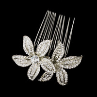 Wholesale Vintage Style Rhodium Silver Clear Rhinestone Crystal Diamante Flower Hair Comb