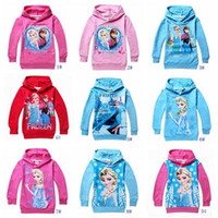 Wholesale 2015 New Arrival Rushed Girl Hooded Frozen Cartoon Children Clothing Anna Elsa Styles Kids Sweater Girls Hoodie Sleeved T shirt Gc040