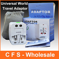 Wholesale US EU AU UK To Universal All In One World Travel AC Power Plug Adapter Convertor with retail packaging DHL