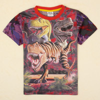 Wholesale 4y to y Boy shirts stock nova kids summer clothes animal dinosaurs D print fabric short sleeve t shirts C5041