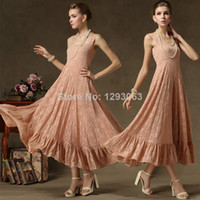 Casual Dresses U Neck Floor Length Women Summer Dress 2014 Summer Women High Fashion Elegant Chiffon Lace Sleeveless Side High Slits Long Vest Formal Vestidos 8116