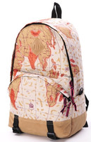 Day Packs Men Plain 2014 New Backpack Fashion world map design Canvas bag Drop Ship