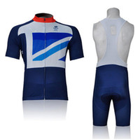 Wholesale Blue Great Britain Bib Cycling Jersey Sets Polyester Padded Cycling Shorts and Tops High Elasticity Bib Mountain Bike Clothing