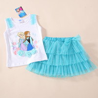 Summer anna selling - 2015 hot sell Anna and Elsa Princess Girls Cartoon Clothing White Sleeveless Top Tutu Skirts Set Piece Suits Outfit Summer Wear Dresses