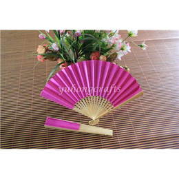 Wholesale Double Sides Paper Fans with Pure Color Folding Hand Bamboo Fans Wedding Bride Hand Fan Many Color Available YHBHZS01b