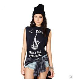 Wholesale I Don t Trust Me Either Women T Shirt Cotton Fashion Punk Six Size Color Black Crew Neck Sleeveless T Shirt