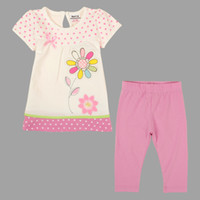 Wholesale nova brand girls clothing sets designer flower white shirt pink solid leggings shorts baby suits for summer childrens clothing KG4799