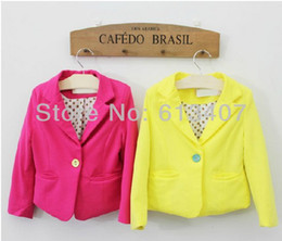 Wholesale Retail New arrival summer baby girl cute candy color cool blazers kids spring autumn high quality cotton coat children fashion jackets