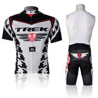 trek bike - White TREK Bib Cycling Jersey Sets Polyester Padded Cycling Shorts and Tops High Elasticity Bib Mountain Bike Clothing
