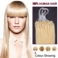 micro loop hair extensions - Indian Remy Human Hair Micro Loop Hair Extensions Straight Bleach Blonde S S