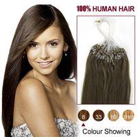 Indian Hair ash brown hair - Indian Remy Human Hair Micro Loop Hair Extensions Straight ash Brown S S