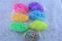 Unisex 8-11 Years Multicolor Glow in the Dark noctilucence Glitter Transparent Jelly Rainbow Loom Refill Rubber Bands Rainbow Loom Bracelet refill (600 bands+24 clips)