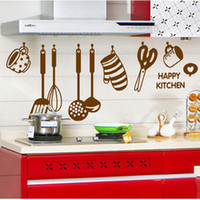 Wholesale Happy Kitchen Ware Wall Stickers Home Decoration Tile Sticker Kitchen PVC Wallpaper Decorative Wall Decals for Kitchen Poster Wall Art