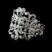 Wholesale Ornate Vintage Style Rhodium Silver Clear Rhinestone bridal Bracelet Bangles
