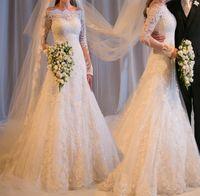 Wholesale 2014 Elegant Long Sleeve Wedding Dresses A Line Off Shoulder Applique Lace Sequin Organza Sheer Bridal Gowns yk1A084