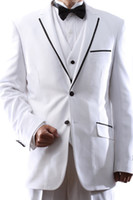 Wholesale Custom Made High Quality White Black Flat Barge Longer Style Suits Formal Groom Tuxedo for pieces Coat Pants Vest Tie Size S XL S146433