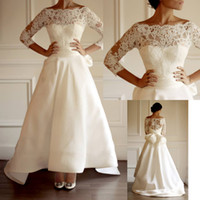 Wholesale Fashionable Sexy A line Modest Satin and Lace Wedding Dresses with Illusion Long Sleeve Bridal Gown
