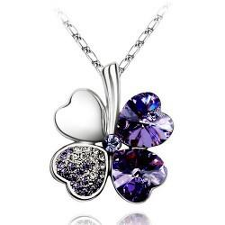 10 Colors SWAROVSKI Elements Crystal Necklaces Lucky Four Leaf Clover Charms Necklace 50CM