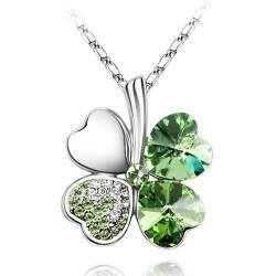 10 Colors 925 Silver SWAROVSKI Elements Crystal Necklaces Green Lucky Four Leaf Clover Charms Necklace 50CM