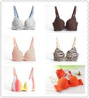 Wholesale 2014 New Arrival Sexy Push Up Gather Seamless Bras For Girls Zebra Floral Rainbow Heart Print Lolita Lingerie B C cute underwear
