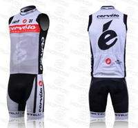 Wholesale 2014 Cervelo Cycling Jersey Sets Breathable Sleeveless Cycling Bib Shorts with Wicking Pad Fit Bike Costumes