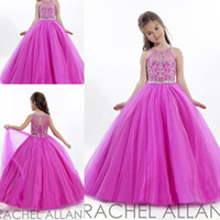 Wholesale Lovely Ball Gown Hot Pink Unique Lace Beautiful Appliques Pageant Tulle Flower Girl Dresses Full Length