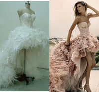 Wholesale Zuhair Murad High low Prom Dresses Newest Short Front Long Back Wedding Dress Feather Lace Up Corset Handmade Custom made