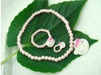 Plastic Jewelry Sets  Children's jewelry wholesale,pearl three-piece necklace + ring + bracelet),cartoon baby jewelry,Drop shipping,jewellery.6 sets 18 pcs.WJ
