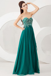 Wholesale 2014 New Arrival Prom Dresses Beaded Sweetheart Sleeveless Ruched Chiffon Peacock Sweep Train Evening Gowns