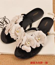 Women's Sandals 2017 Summer Beach camellia sandal flower melissa jelly shoes flip flops slippers lady flat shoes M1087C