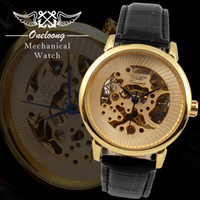 Wholesale NEW ONELOONG brand black brown Leather strap Automatic Mechanical Skeleton Analog Elegant Mens Watch Chronograph Watch for business Men