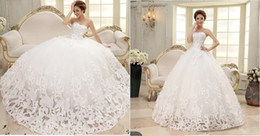 Wholesale 2015 New Arrivals Fantastic Beatiful Sleeveless Elegant Sweet Princess Appliques Beads Lace up Wrapped Chest Ball Gown Wedding Dresses